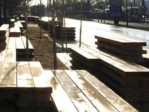 Banc-paysage / Mobilier éphémère d'accompagnement des chantiers urbains // ZAC Bords de Seine, Bezons /// 2014-2016